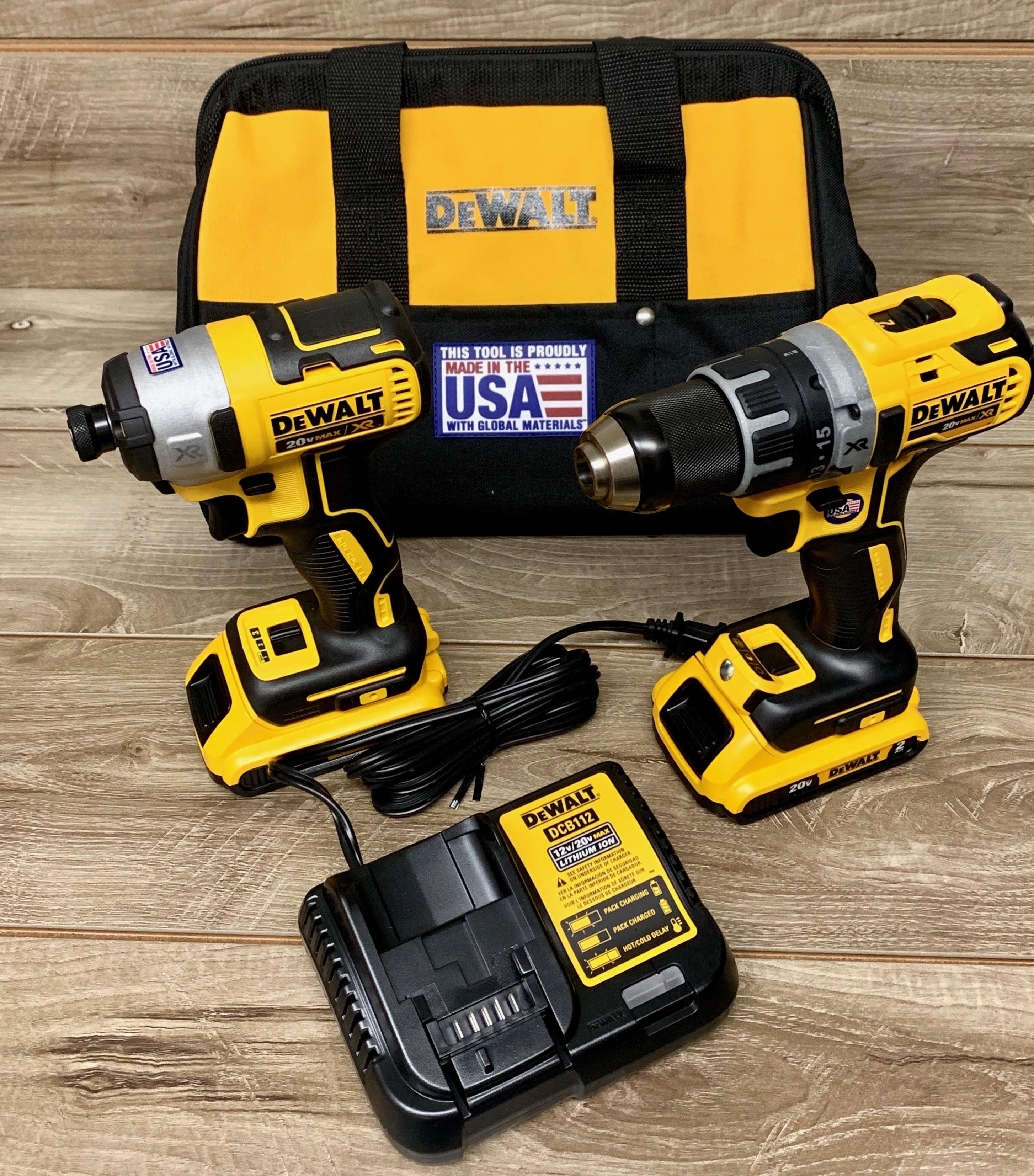 Dewalt Dck283d2 2ov Max Xr Brushless Cordless Drill Driver Combo Kit Fourman Industries