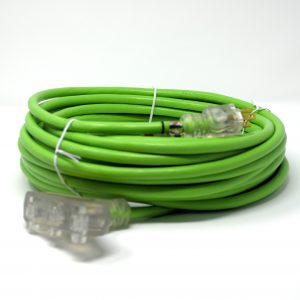 10 Gauge SJTW Heavy duty Green Extension Cord triple tap lighted end Triple Tap, Lighted End
