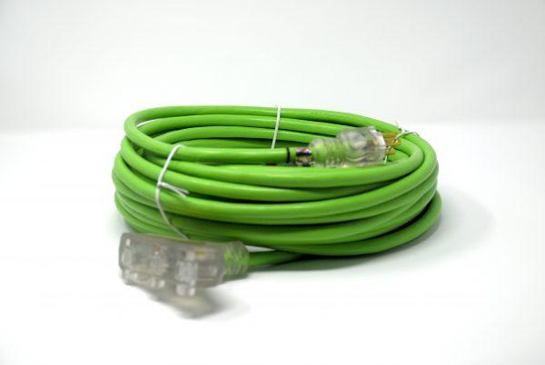 10 Gauge SJTW Heavy duty Green Extension Cord triple tap lighted end Triple Tap, Lighted End
