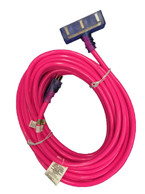 12 GAUGE SJTW HEAVY DUTY HOT PINK EXTENSION CORD - TRIPLE TAP LIGHTED ENDS