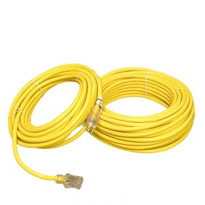 14 Gauge SJTW Heavy Duty Yellow Extension Cord Single Lighted End