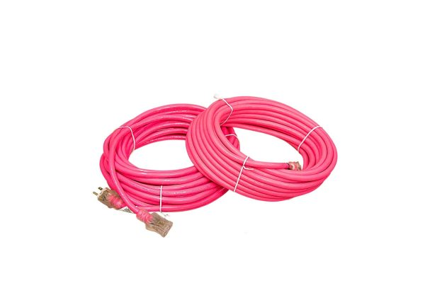 12 Gauge SJTW Hot Pink Extension Cord with Single lighted Lighted End