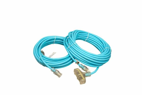 12 GAUGE SJTW BLUE EXTENSION CORD SINGLE AND TRIPLE TAP LIGHTED ENDS