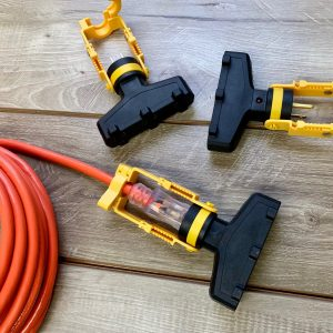 Heavy Duty TRIPLE TAP Extension Cord Adaptor with Cordlocker AND LED lighted