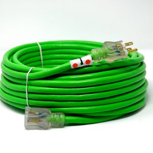 10 GAUGE SJTW HEAVY DUTY LIME GREEN EXTENSION CORD - SINGLE LIGHTED ENDS