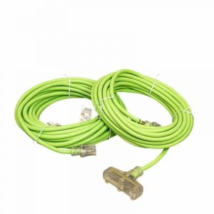 12 GAUGE SJTW LIME GREEN EXTENSION CORD SINGLE AND TRIPLE TAP LIGHTED ENDS