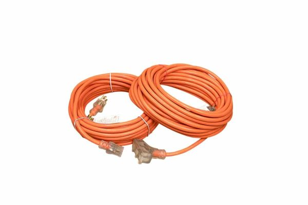 12 GAUGE SJTW ORANGE EXTENSION CORD SINGLE AND TRIPLE TAP LIGHTED ENDS