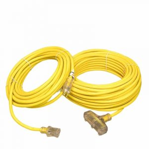 12 GAUGE YELLOW EXTENSION CORD SINGLE AND TRIPLE TAP LIGHTED ENDS